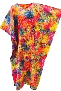 New-AUTUMN-Cotton-Vibrant-Tie-Dye-Kaftan-Caftan-Dishdash-Cool-Long-Dress-Plus