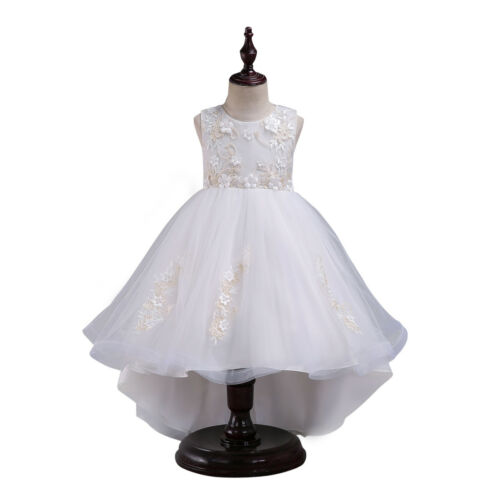 Flower Girls Princess Dress High Low Tulle Wedding Communion Birthday Prom Gown