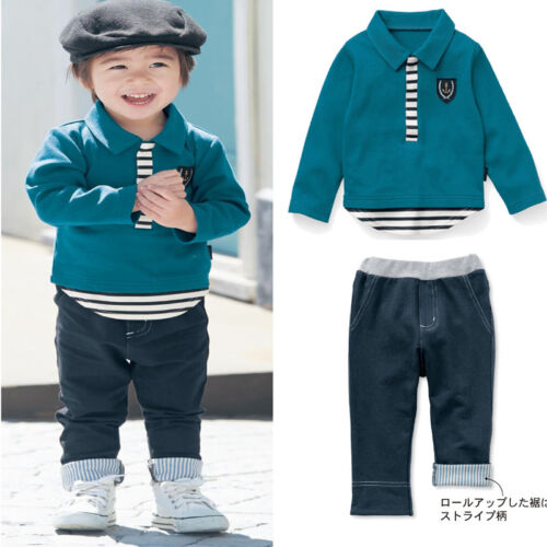 UK Seller Sale Smart Infant Baby Boys Green Jacket Top Trousers Cotton 0-5 Years