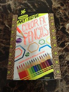 New CRAYOLA Art with Edge 16 COLOR FX PENCILS Neon Metallic Colored Non Toxic