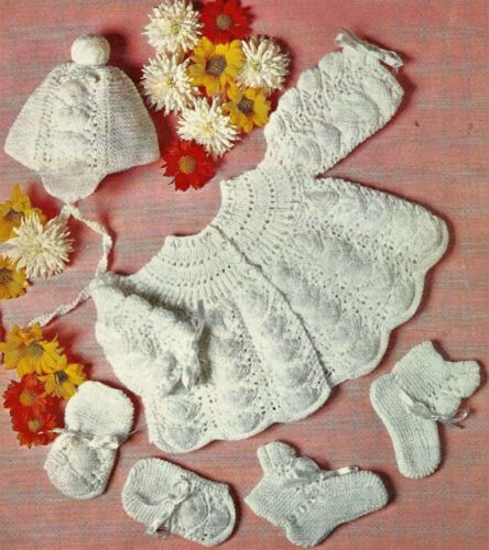 """#204 BABY GIRL SET HAT COAT MITTS /& BOOTEES KNITTING PATTERN 18-19/"""" 46-48cm"""