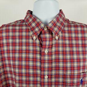 Ralph-Lauren-Blake-Mens-Red-Plaid-Check-L-S-Casual-Dress-Button-Shirt-Sz-XL