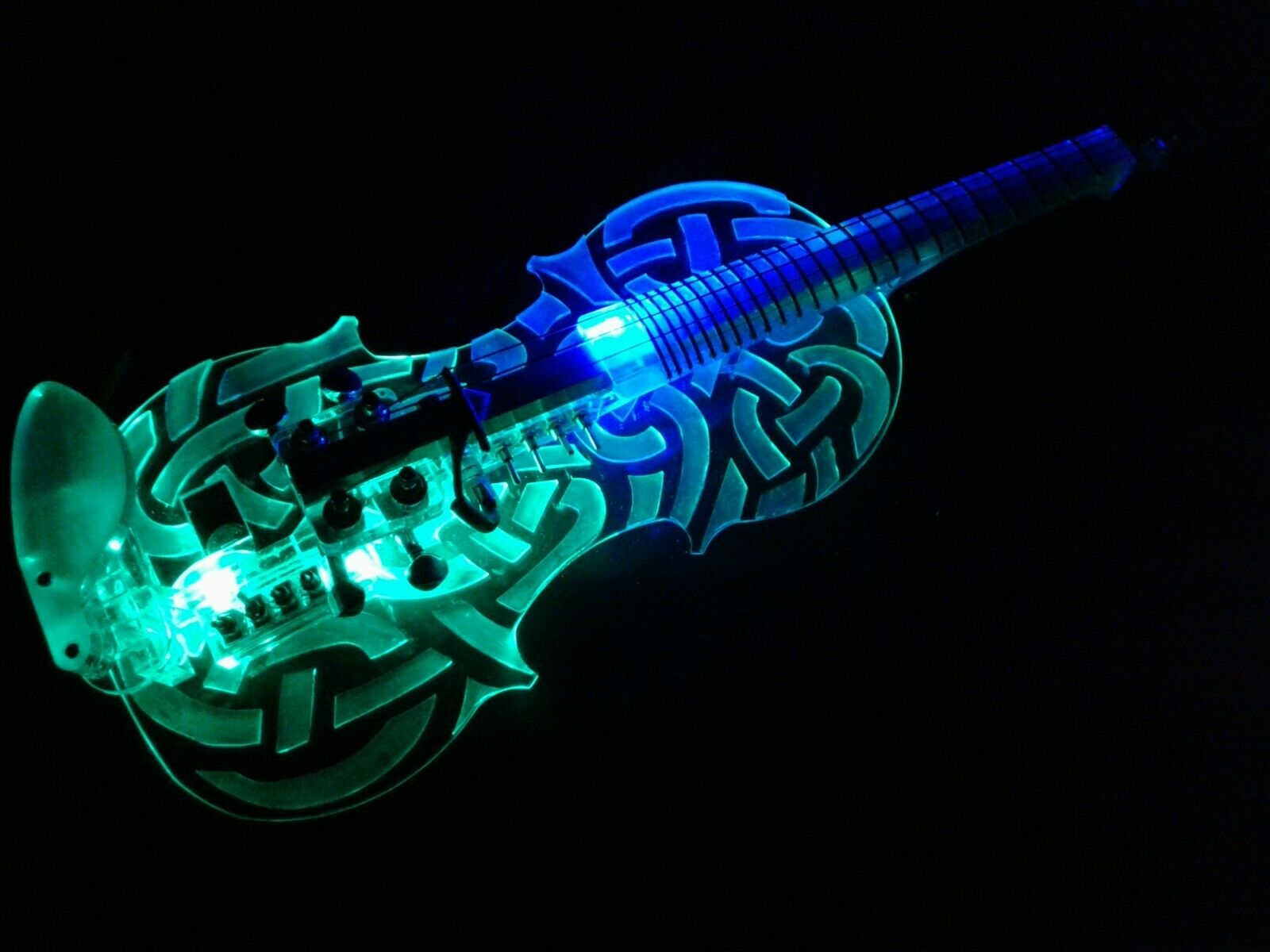 New  EQUESTER Sigma celtic knot fretted acrylic electric violin, HANDMADE