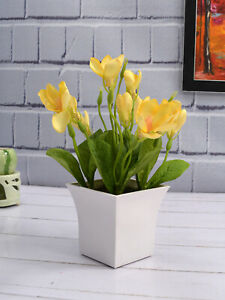 Artificial Plants Yellow Lily Indoor And Outdoor Decoration Natural Looking Ebay