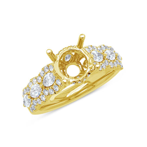 18k Yellow Gold Round Diamond Semi Mount Ring Set Marquise Bridal