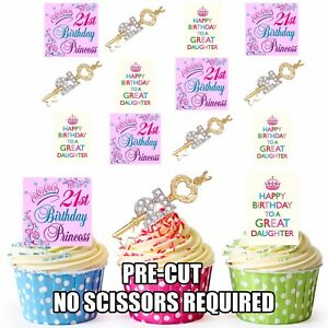 PRECUT-21st-Key-Daughter-039-s-Birthday-12-Edible-Cupcake-Toppers-Cake-Decorations