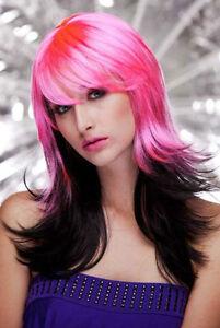 Perruque-Rose-et-degrade-noir-Raide-avec-frange-femme-Wig-Wigs