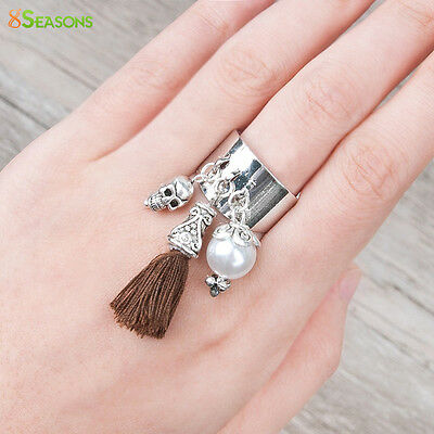 Silver Tone Adjustable Ring With imitation Pearls Bead Skull Cotton Brown Tassel