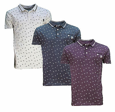 Soul Star New Men/'s Soft Cotton Polo Pique Jersey Top Bird Fly Triangle Pattern