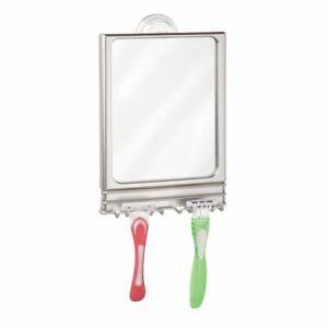 Mdesign Large Modern Plastic Suction Shaving Mirror Center