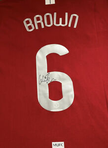 Signed Wes BROWN - MANCHESTER UNITED SHIRT 2008 Shirt PROOF Man Utd Champions