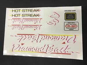 Diamondback Hot Streak 1980s Decals Sticker Set Suit Your Old School BMX