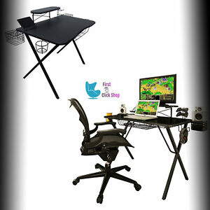 Fantastic Details About Gaming Desk Pro Gamer Table Monitor Phone Stand Computer Furniture Gamers Design Caraccident5 Cool Chair Designs And Ideas Caraccident5Info