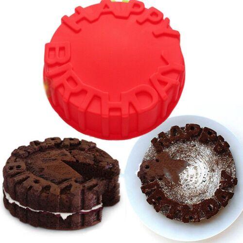 """7/"""" BIG Silicone Ronde Happy Birthday Cake Baking Pan Moule Gâteau Bakeware À faire soi-même Plateau"""