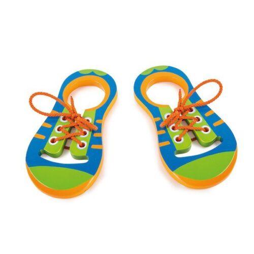 Gioco Allacciare le scarpe in legno 2 pezzi Montessori Legler 10152