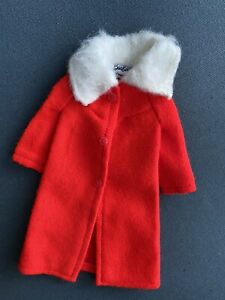 Vintage-Barbie-MOD-COLD-SNAP-3429-Red-Coat-With-Fur-Collar