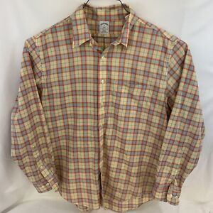 Brooks Brothers 346 Mens Shirt XL Yellow Blue Plaid Button Down Long Sleeve