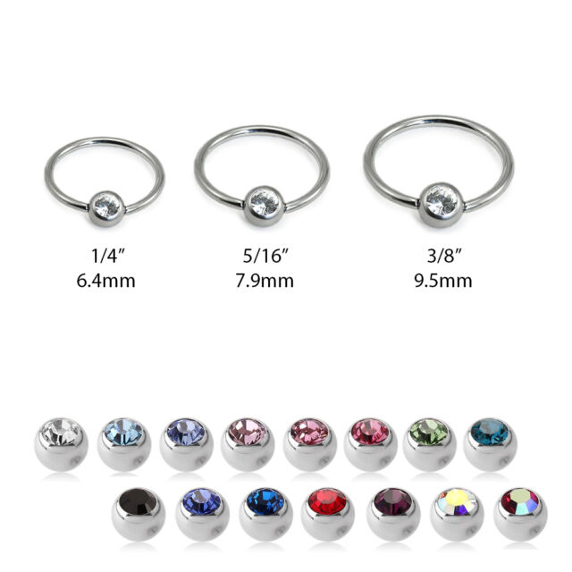 316L Surgical Steel Captive Bead Nose Ring Septum Hoop CZ 18G 20G 16G