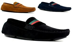 Boys-New-Smart-Suede-Moccasins-Slip-On-Stitched-Casual-Formal-Loafers-Shoes
