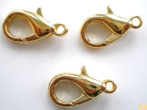 Wholesale lot 200 x 14mm Premiuim Quality Gold Plated Lobster clasps