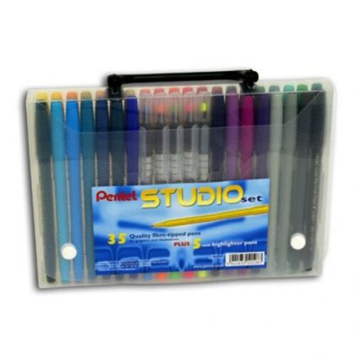 PENTEL ART STUDIO SET FELT TIP PENS 40 COLOURS IN CASE Ideal for Adult Colouring