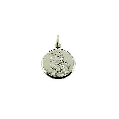 925 Sterling Silver 25mm Oval St Christopher Double Sided Wavy-Edge Pendant Gift
