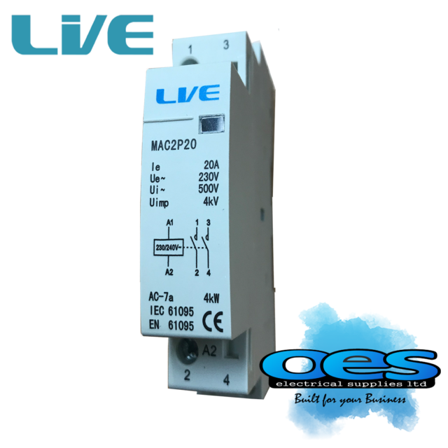 20 Amp 2 Pole Contactor AC 4kW Normally Open DIN Rail Mount Heating Lighting New