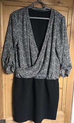 Influence Dress Size 10 Black Cotton Poplin Plunge V Neck Dress NEW GL64
