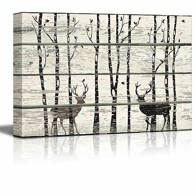 Deer in Birch Forest Wood Cut Print Artwork - Rustic Canvas Wall Art- 24x36