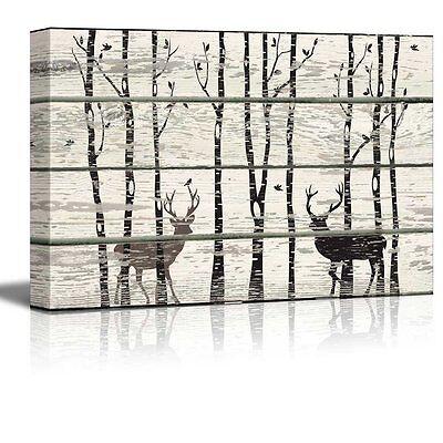 Deer in Birch Forest Wood Cut Print Artwork - Rustic Canvas Wall Art- 24x36