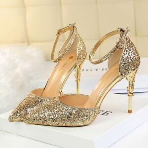 Women-Glitter-Pumps-Stilettos-Pointed-Toe-Straps-High-Heels-Ladies-Party-Shoes