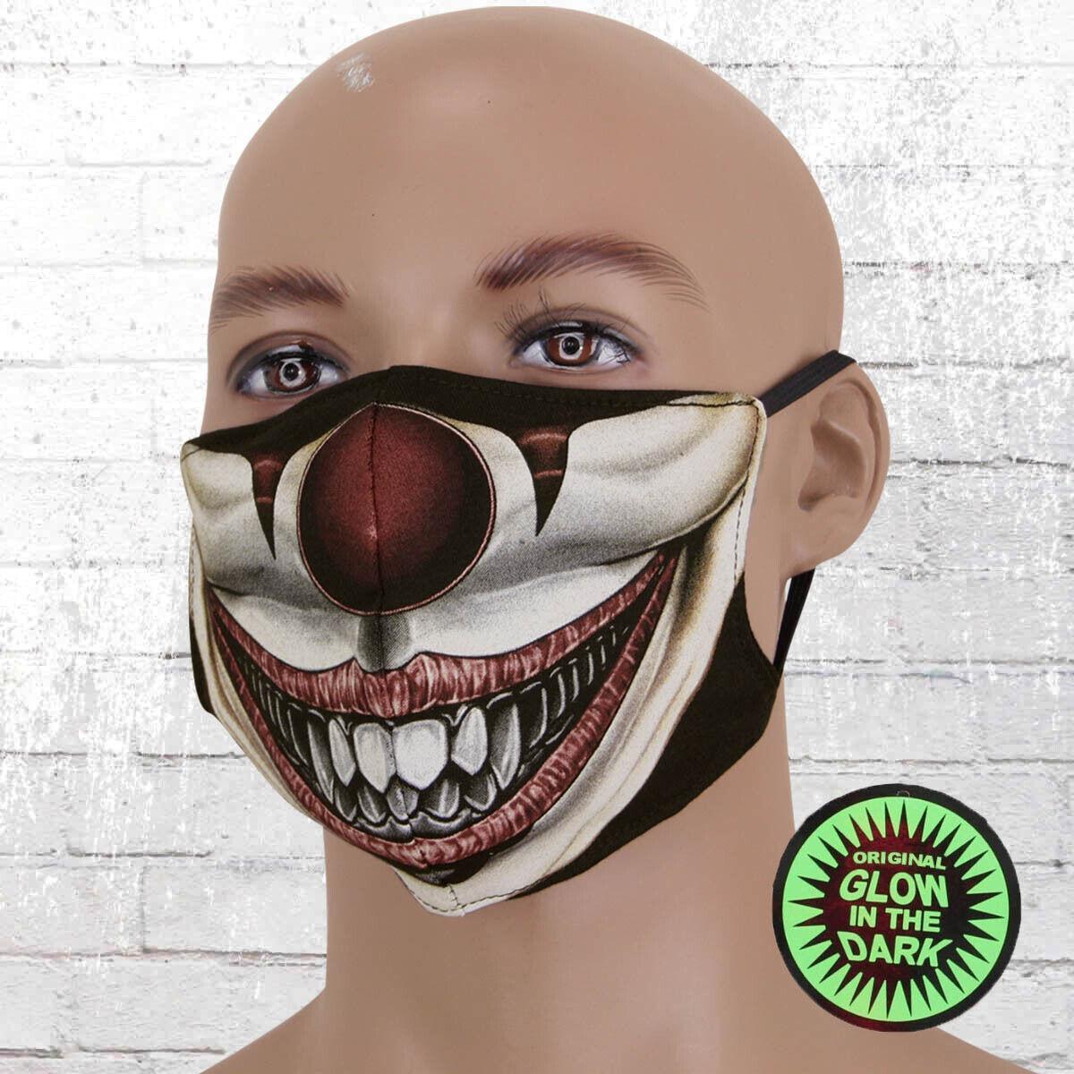 Viper Motiv Maske Glow In The Dark Clown bunt Mund Nasen Bedeckung Leuchtmaske