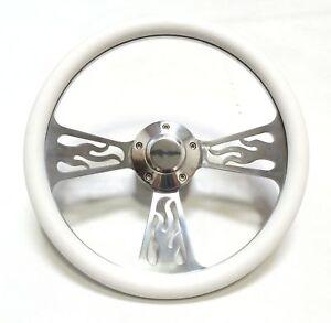 """Marine Boat 14/"""" Billet Aluminum White Steering Wheel Set"""