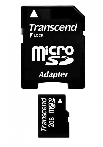 2 Go Carte mémoire MicroSDHC Transcend avec adaptateur SD