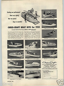 1955 Paper Ad Chris Craft Wood Wooden Boat Kits Kit 21 Monterey 18
