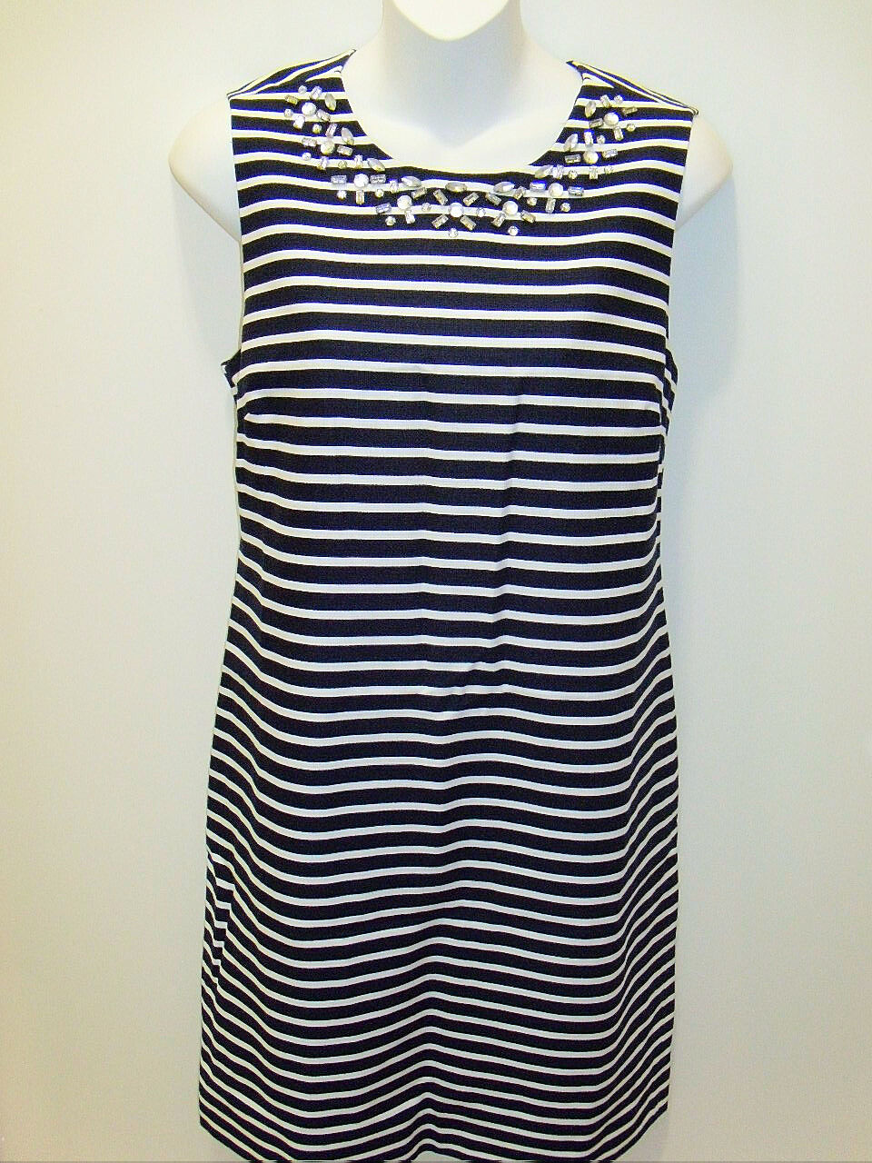 NWT J. Crew Embellished Jeweled Crystal Sheath Navy Sleeveless Lined Dress 6 NEW