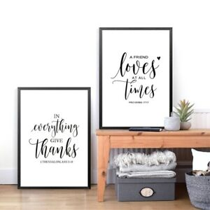 Details about Bible Verse Thanksgiving Prints Poster , Friendship Quotes  Canvas Painting Decor