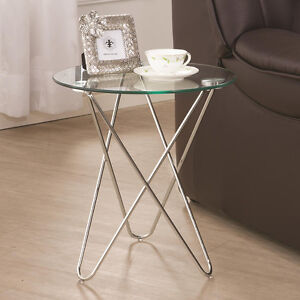 Accent-Contemporary-Petite-Snack-Side-Table-w-Round-Glass-Top-Chrome-Metal-Base