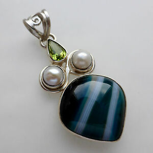 Teal-Agate-Peridot-Pearl-Solid-Sterling-925-Silver-Pendant-Jewellery