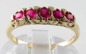 DIVINE-9K-9CT-GOLD-RICH-RUBY-HALF-ETERNITY-VINTAGE-INS-RING-FREE-RESIZE