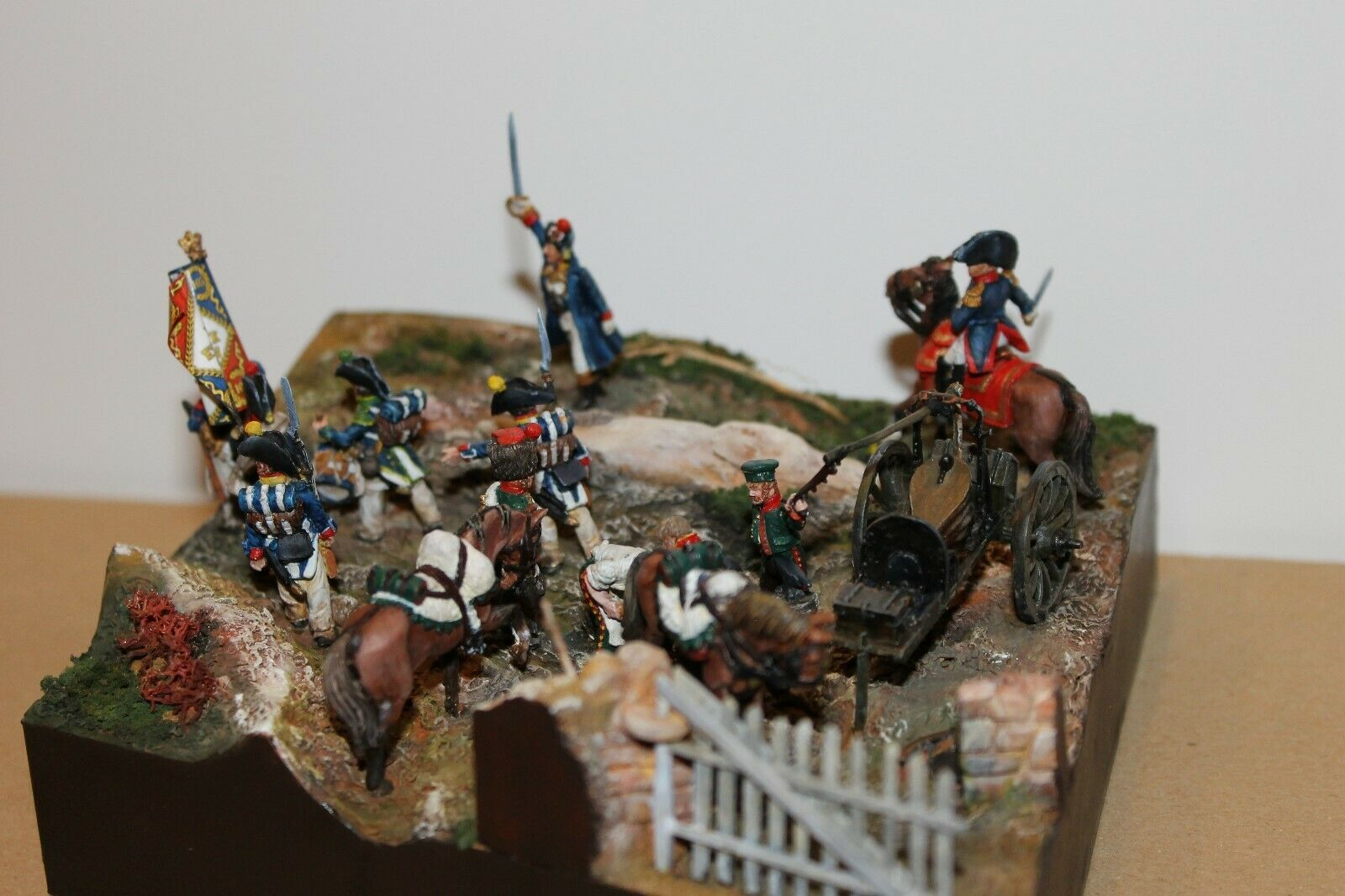 Diorama Figurines Perry miniature 28mm 1ier Empire Voltigeurs Forge de campagne