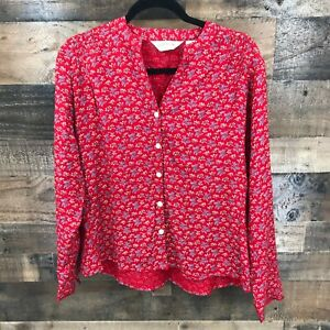 Orvis Women's Red Floral 100% Rayon Popover Blouse Size L