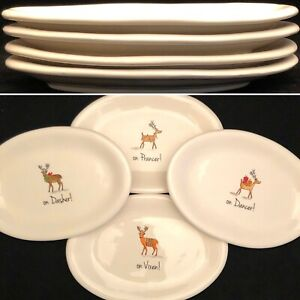 Rae-Dunn-2017-Christmas-Reindeer-Oval-Snack-Plates-DANCER-DASHER-PRANCER-VIXEN
