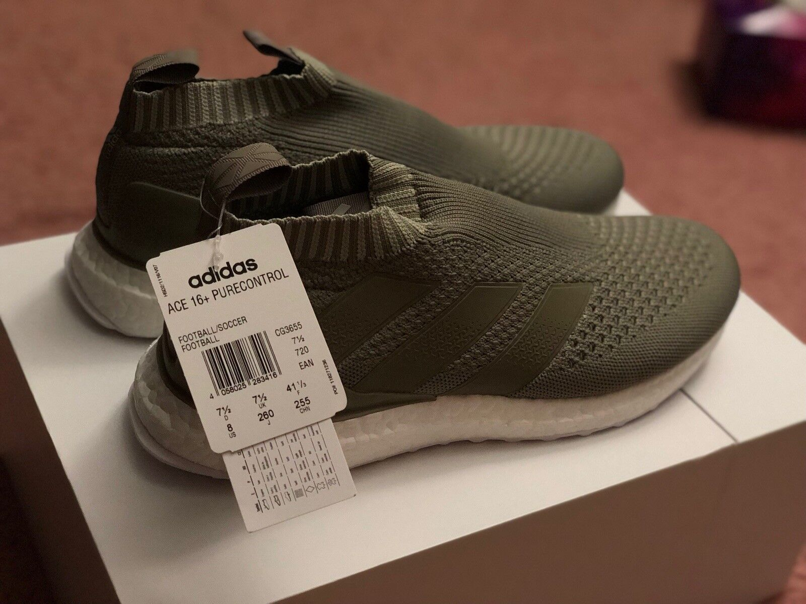 Adidas asso impulso 16 + purecontrol ultra impulso asso clay olive cg3655 sz 9,5 in mano b60901