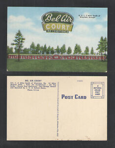 1940s-BEL-AIR-COURT-MOTEL-WAYCROSS-GEORGIA-POSTCARD