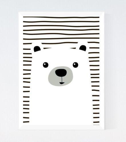 Black /& White Cute Kawaii Bear Modern Nursery Kids Room Print Wall Art Picture