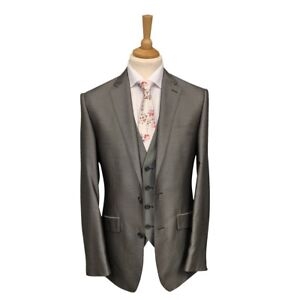 Mens Two-Tone Silver 3 Piece Suit  / Wedding / Formal / Prom