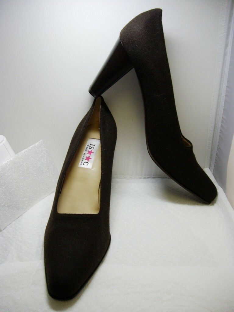 New In Box ISAAC by ISAAC MIZRAHI Brown FELT Classic PUMPS PUMPS Classic Heels SHOES 10~ITALY 609a3e