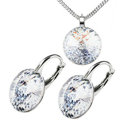 925 Sterling Silver Earrings Necklace Set Moonlight Crystals from Swarovski®