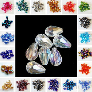 50pcs-Faceted-Glass-Crystal-Charm-Findings-Teardrop-Spacer-Loose-Beads-5x3mm-Lot